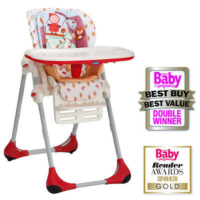New Chicco Happyland Polly Highchair Baby Feeding Height Adjustable High Chair