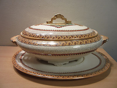 """Antique 1800s Aesthetic Brownfield Sons Wisconsin Ivory Tureen 15"""" + Underplate"""