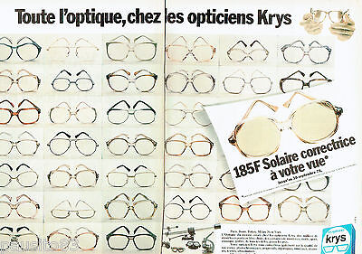 PUBLICITE ADVERTISING 115 1978 Les opticiens KRYS (2p) lunettes solaires  corr 4c26c841969c