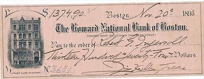Robert Ingersoll- Rare Check Endorsed by Him in 1893