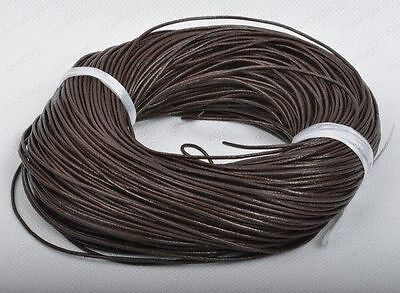 Real 100% Genuine Leather Thong Cord- 1.5mm 2mm 2.5mm 3mm 4mm - Brown 5-100 M