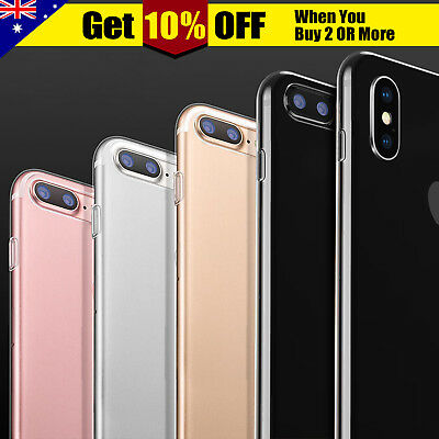 iPhone X 8 7/6 Plus Crystal Clear Slim Soft Hard Case Cover Shockproof for Apple