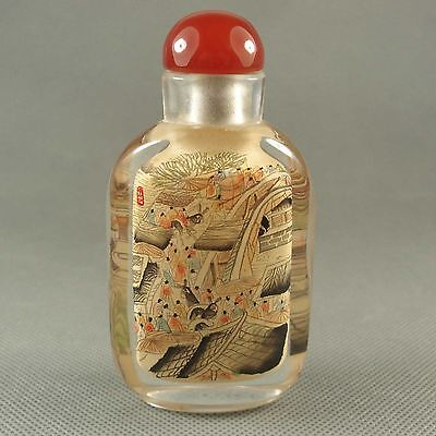 Classic Chinese Glass Inside Painted Qingming On the River Figure Snuff Bottle