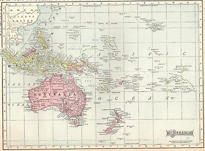1911 Antique OCEANIA Map PACIFIC ISLANDS Map Travel Gallery Wall Art 2260
