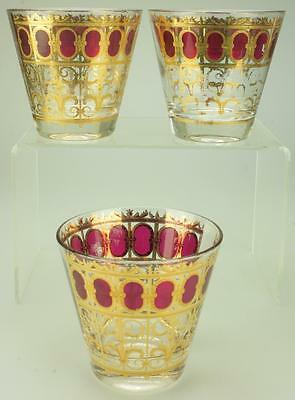Three Lowball/Rocks Glasses in Cranberry Scroll by Culver Mid Century Era DH57