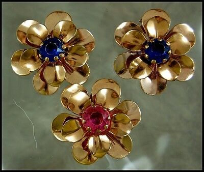 Lot of Three Vintage Flower Dress / Scarf / Shoe Clips With Lucite Settings