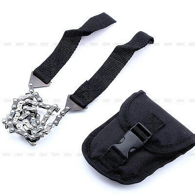 Survival Chain Saw Pocket Gear w/ Pouch Hand ChainSaw Emergency Portable Tool DY