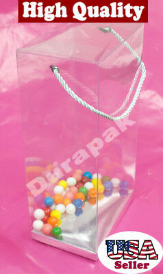 """12~ 6x4x11-1/2"""" Rope Handle Clear Plastic PVC Gift Favor Boxes w/ Silver Card"""