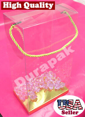 """12~ 6x4x11-1/2"""" Rope Handle Clear Plastic PVC Gift Favor Boxes w/ Golden Card"""