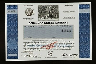 American Skiing Company old stock certificate dd 2000