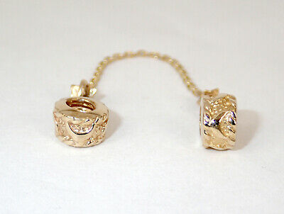 Genuine SOLID 9CT 9K GOLD MOON Safety Chain FIT Pan EUROPEAN CHARM BEAD BRACELET