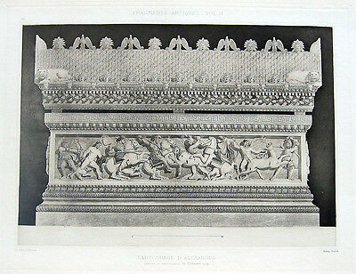 28 ~ ALEXANDER THE GREAT SARCOPHAGUS Istanbul 1905 Architecture Detail Art Print