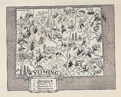 Charming WYOMING Map Cowboy Bee Keeping Oil Rigs FUN Whimsical 50s Map BW 2302