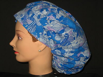 Surgical Scrub Hats/Caps  Modern Blue Leaves