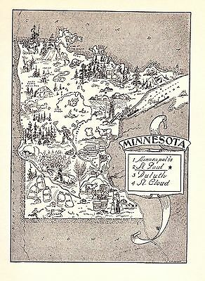Whimsical MINNESOTA Map Moose Bear Dairy Indians Original 50s Map BW 2316
