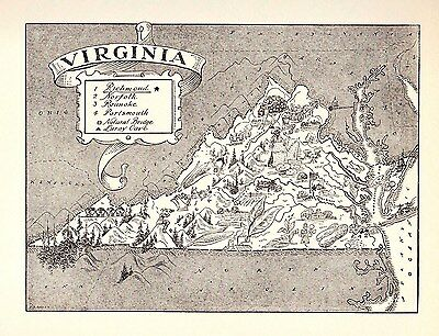 1950s Original Vintage VIRGINIA Picture Map Coal Mining Pictorial  Map BW 2331