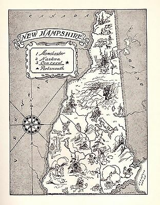 Charming NEW HAMPSHIRE Map Animals Fishing Maple Syrup  FUN 50s Map BW 2341