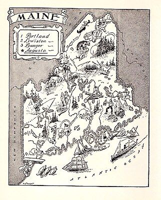 1950s MAINE Map Vintage Original Pictorial Map of Maine BW 2342