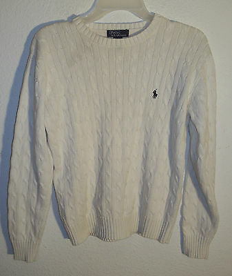 white cotton sweater by Polo Ralph Lauren in youth size XL