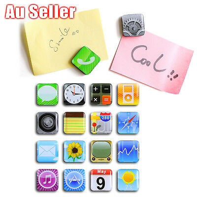 18 Pcs iPhone App Logo Refrigerator  Fridge Magnets Whiteboard Memo Magnet Icons