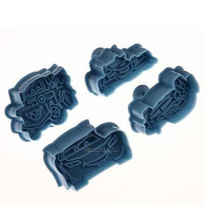 4 Pcs Cars McQueen Fondant Mold Cake Cookies Cutters Biscuit Plunger DIY Mould