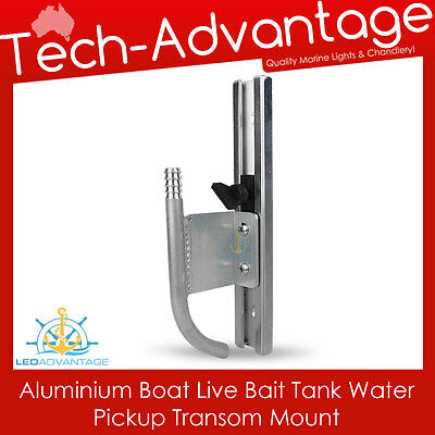 Boat Marine Aluminium Transom Mounted Adjustable Live Bait Tank Water Pickup