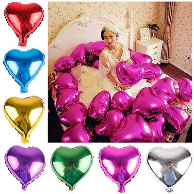"10x 18"" Heart Foil Helium Balloons Wedding Birthday Party Engagement Decoration"