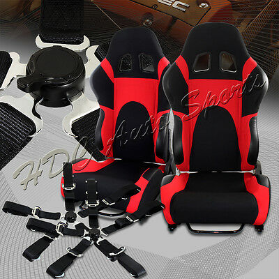 Black/Red TYPE-6 Fully Adjustable Cloth Bucket Racing Seats+5PT Black Seat Belts