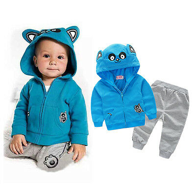Toddler Kids Baby Boy Outfit Hoodie Coat Jacket Top+Pants Tracksuit Clothes Set