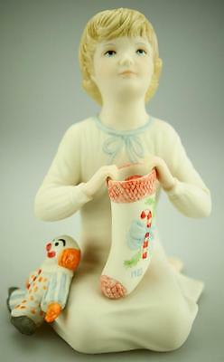 Vintage Cybis USA Hand Painted Porcelain Boy with Stocking and Clown 1983 RA4
