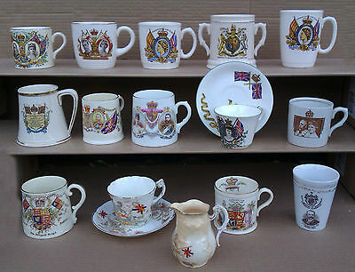 Selection Of Royalty / Commemorative Mugs Etc.