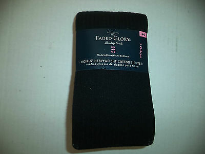 Girls Size 4 To 6 Heavyweight Faded Glory Cotton Black Tights