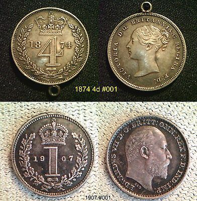 MAUNDY COINS Queen Victoria 1874 4d and Edward VII 1907 1d - Choose your coin
