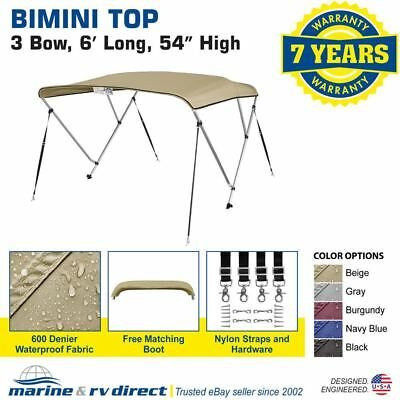 "New 4 Seasons Brand Boat Bimini Top Cover 3 Bow 54""H x 67""-72"" W Beige"