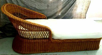 vintage henry link rattan wicker chaise lounge chair cushion