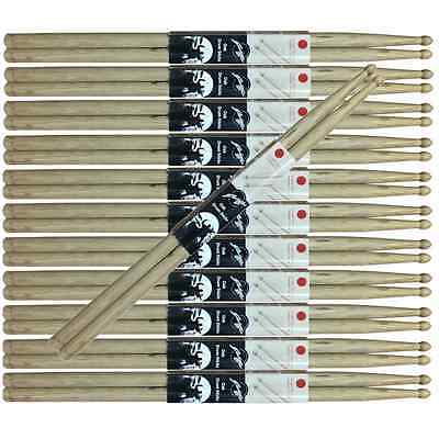 Pack of 12 Pair Johnny Brook Wooden Drum Sticks Oak 2B 5A 5B 7A SRH Wood Tip
