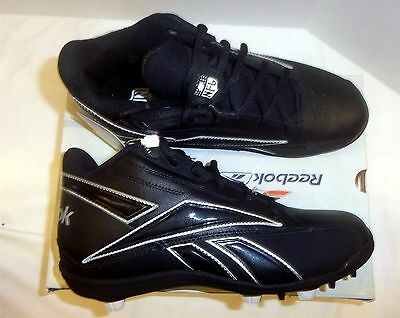 23890721a89c71 Reebok NFL Thorpe Mid MR7 Men s Football Cleats NIB Black Black Various  Sizes