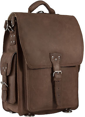Black Friday Sale ! Mud Brown Crazy Horse Leather Large Backpack / Messenger Bag