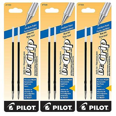 Pilot Dr Grip Retractable Refill Medium Point Blue 2ct PIL 77228 Pack of 3