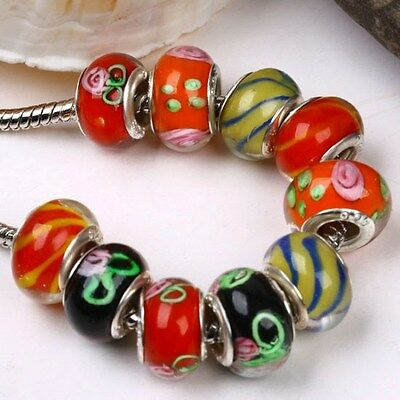 10 pcs Fashion Lampwork Glass European Spacer Beads For Charm Bracelet DIY