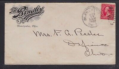 Usa 1902 The Bindley Hotel Cover Manchester To Defiance Ohio