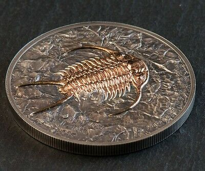 2016 500 Togrog Mongolian -TRILOBITE, EVOLUTION OF LIFE series 1oz Silver Coin
