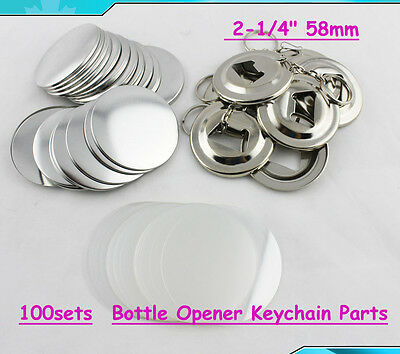 "Bottle Opener Keychain Parts 58mm 2-1/4"" 100sets Supplies For Pro Button Maker"