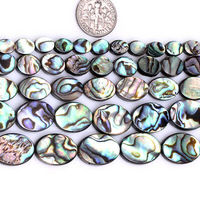 Oval Natural Abalone Shell Stone Beads For Jewellery Making 15'' Free Shipping