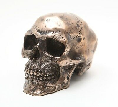Bronze Patina Human Skull Statue Skeleton Figurine Bizarre Collectible Cool 8861
