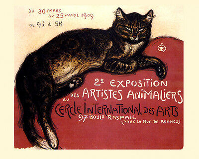 1909 Cat Artist Art Exposition France French 16X20 Vintage Poster FREE S/H