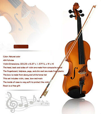 Full Size Violin 4/4 + Case + Bow Learning Fiddle Music Acoustic Handmade Set