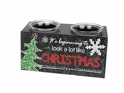 Chalk Black Board Festive Double Tealight Candle Holder Christmas Message