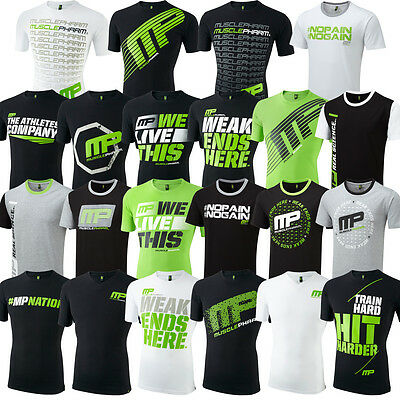 MusclePharm Mens Short Sleeve Printed T Shirt Gym Cotton Fitness Training Tee