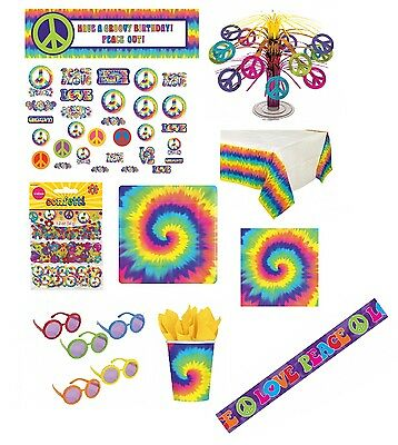 GROOVY 60s THEMED PARTY TABLEWARE & DECORATIONS (Balloons/Confetti/Sixties)